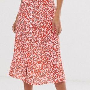 ASOS River Island button through midi skirt in red